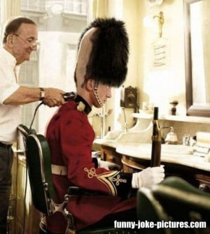 Funny British Royal Guard Soldier Barber Haircut Picture