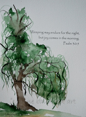 Weeping Willow Tree watercolor painting with Bible Verse green gold ...