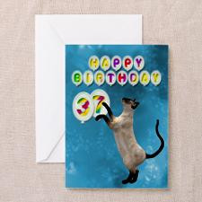 37th Birthday card with a cat Greeting Card for