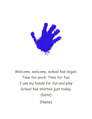 handprint first day of school poem by kellys3ps