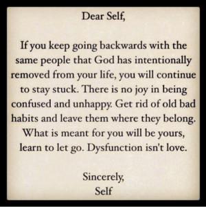 Dear self, dysfunction isn't love.