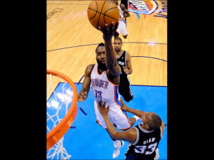 Oklahoma City OK - June 2: James Harden and Boris Diaw