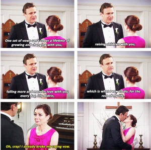 Marshall And Lily. Vows. My favorite thing ever.
