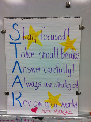 ... the standard way. However, we did come up with a STAAR reminder chart