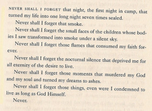 Night by Elie Wiesel. A beautiful, sad book that everyone must read.