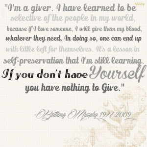 ... have yourself, you have nothing to give.