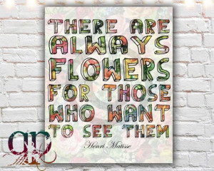flower art flower quote henri matisse quote by QuotablePrintables, $5 ...