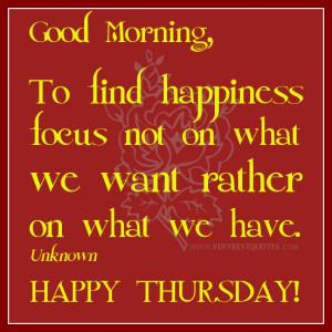 Thursday Good Morning...