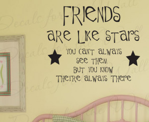 Sticker Decal Quote Vinyl Lettering Friends are Like Stars Friendship ...