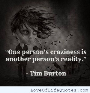 Tim Burton quote on craziness