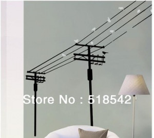 ... Electric Pole With Birds 3D Vinyl Wall Decals/Wall Quotes Stickers