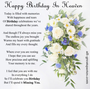 In Loving Memory Cards – Happy Birthday In Heaven