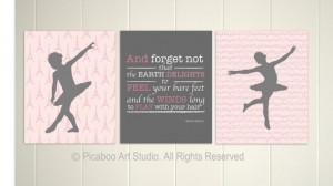 ... decor, ballerina, nursery inspirational quotes, Set of 3, 8x10 prints