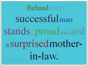 ... successful man stands a proud wife and a surprised mother-in-law