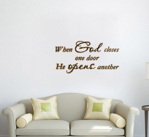 when god closes one door he opens another vinyl wall quote for home