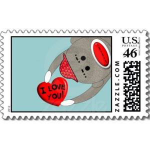 Sock Monkey Postage Stamps