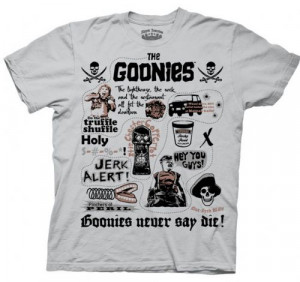 The Goonies Spolier Quotes Treasure Map Silver Grey Adult T-sh
