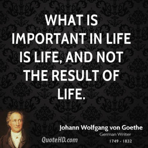 What is important in life is life, and not the result of life.