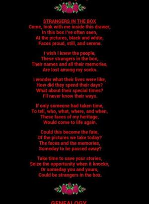 Genealogy poem I love this poem