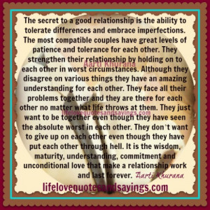 The Secret Of A Good Relationship..