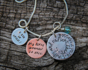 ... heart... Hand-stamped pendant with Baha'i quote from the Hidden Words