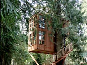 The Tree House Point hotel in Washington State serves as a two-story ...