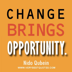Change brings opportunity quote by Nido Qubein.