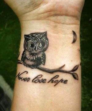 ... from Cute Owl And Inspirational Quote Tattoo On Wrist wallpaper