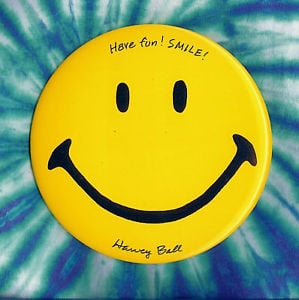 Harvey Ball Smiley 6 DIA Original Smiley Face Pin Autographed Hand