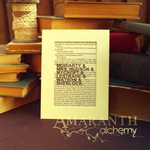 Sherlock - Fandom Book Page Quote Print