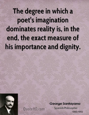 The degree in which a poet's imagination dominates reality is, in the ...