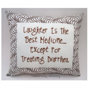 Funny Cross Stitch Pillow, Brown Pillow, Laughter Quote