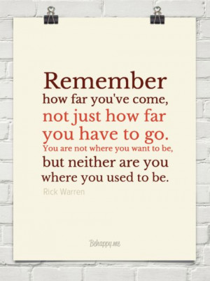 remember how far you ve come by rick warren 30885