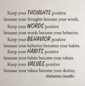 Mahatma Gandhi Keep your...Inspirational Wall Decal Quotes
