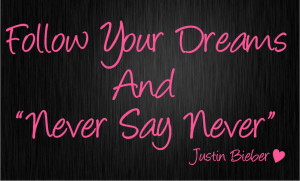 JUSTIN BIEBER Never say Never Wall quote art sticker Kids bedroom