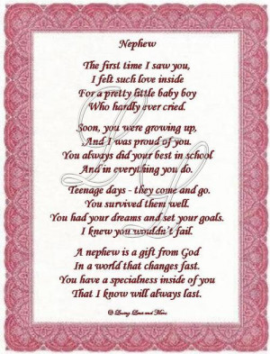 nephew poem is about a special nephew poem may be personalized with
