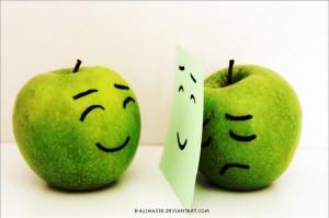 apple, fake, feelings, mask, real, sad