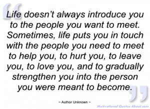 life doesn't always introduce you to the author unknown