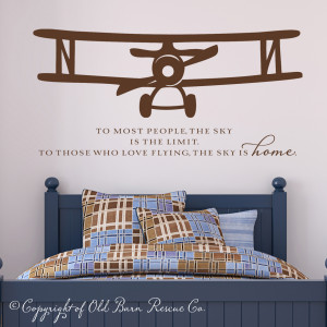 Vinyl Wall Decal - Airplane with quote from Old Barn Rescue Company ...