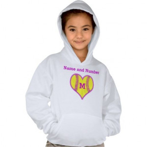 Softball Hoodies for Girls with NAME and MONOGRAM or type in her ...