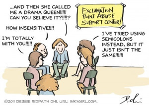 Exclamation abuse support group!!!