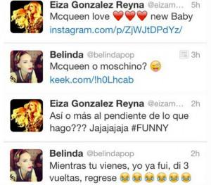 Todo comenzó porque Belinda comentó un tuit de Eiza. Foto:Twitter