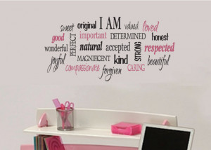 am Positive word collage for girls Teen girl vinyl wall design decor ...