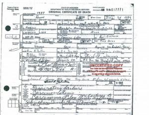 Ed Gein death certificate