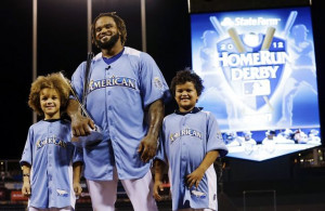 American League's Prince Fielder, of the Detroit Tigers, poses with ...