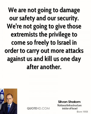 We are not going to damage our safety and our security. We're not ...