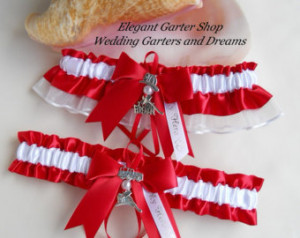 Firefighter Wedding Garters I Love My Fireman Charm Handmade Red ...