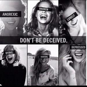 death depression suicidal self harm society anorexic bulimic decieved