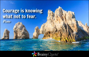 Courage is knowing what not to fear. - Plato at BrainyQuote