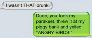 Angry birds! How drunk were u?